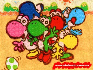 This picture shows Yoshi, Dark Blue Yoshi, Red Yoshi, Light Blue Yoshi, Pink Yoshi, and Yellow Yosi. Can you guess what (green) Yoshi is saying??